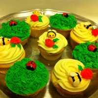 Spring Cupcakes Yellow butter cupcakes with cream cheese frosting. Fondant ladybugs and bees.