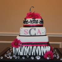 Zebra, Pink And Black Wedding Cake.