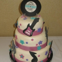 Dawn's Rockin' 50Th Bday  Rock and roll themed 50th birthday. Carrot cake with cream cheese buttercream. Birthday girl found a photo online of a cake for me to base...