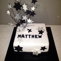 Birthday Cake Male Star White Black Amp Silver Theme Birthday Cake -Male Star White, Black & Silver theme