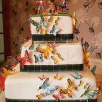 Butterfly Wedding Cake butterfly cake with man and woman hikers ,