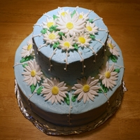 Daisy Cake Light Blue Buttercream with Fondant Daisies
