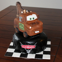 Tow Mater Made this cake for a little boy turning 2. Mater is carved out of cake.