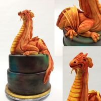 Dragon Cake  The dragon was sculpted in rice krispies treats, covered in fondant and colored with petal dust. It is inspired by one of Mike?s Amazing...