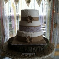Burlap And Lace Rustic Wedding Cake Burlap and Lace Rustic Wedding Cake