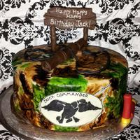 Duck Dynasty Birthday Cake Covered In Fondant And Painted Realtree Camouflage Duck Call Bullets Sign And Duck Commander Sign Made From  *Duck Dynasty birthday cake covered in fondant and painted realtree camouflage. Duck call, bullets, sign and duck commander sign made from...