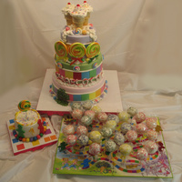 Candyland Themed 1St Birthday Cake With Smash Cake And Cake Pops   Candyland themed 1st birthday cake with smash cake and cake pops
