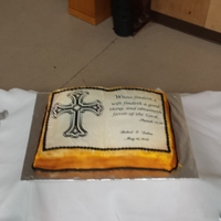 Groom's' Bible Cake   Book cake pan from Wilton, two edible images, airbrushing on buttercream