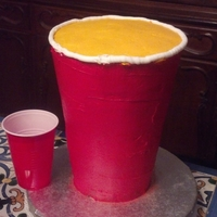 "Red Solo Cup  This is a 10"" tall replica of a Red Solo Cup with 6 layers of various cake flavors. I used 5 8"" round cakes and one 6"" round..."