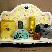Vintage Shelf With Perfumes The Cake Board Is A Hand Crafted Shelf From Foam Board Which Was Given A Vintage Look The Perfumes Bottles Are... Vintage Shelf with Perfumes The cake board is a hand-crafted shelf from foam board which was given a vintage look. The perfumes bottles are...