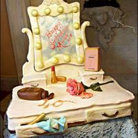 French Boudoir Dressing Table *French style dressing table cake made for a surprise 40th. Largest cake I have made since starting last year, and the most time consuming...