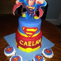 Superman Birthday Cake And Cupcakes Edible Image On Top Superman birthday cake and cupcakes. Edible image on top.