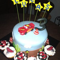 Cars 3Rd Birthday Cake And Cupcakes Cars 3rd birthday cake and cupcakes