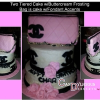 Chanel Bag Two Tiered Cake Buttercream w/Fondant Accents