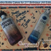 21St Birthday Vodka Bottle Cake Half sheet pound cake with Buttercream Frosting - Bottles are pound cake with edible images