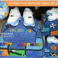 All Star First Birthday Cake Buttercream Pound Cake - Shoes and accents are fondant