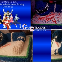 Power Ranger Cake - Buttercream Cake is buttercream frosted with fondant accents.