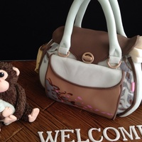 Baby Shower Cake With Changing Bag , Monkey And Teddy Bear