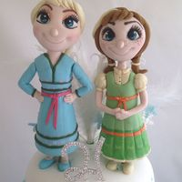 Frozen Birthday Cake With Anna And Elsa As Children Anna and Elsa as children sugar figures