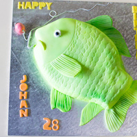 A Carp For An Avid Fisherman Cake Was Pina Colade Flavour Which I Marbled Inside With Electric Yellow And Green Gel Colour Rum Flavoured B... A carp for an avid fisherman. Cake was pina colade flavour which I marbled inside with electric yellow and green gel colour. Rum flavoured...