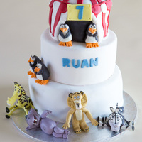Madagascar Themed Cake For My Sons 7Th Birthday 3 Tiered Chocolate Cake With Chocolate Ganache Covered In Fondant The Middle Tier Was A Madagascar themed cake for my son's 7th birthday. 3 Tiered chocolate cake with chocolate ganache covered in fondant. The middle tier...