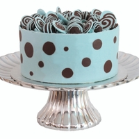 Blue And Brown Chocolate Polkadot Chocolate Mudcake with a ganache filling decorated with a blue and brown chocolate collar with chocolate truffles.