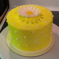 Yellow Polka Dots And Daisy Get well cake for a friend