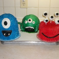 Monster Cakes I made these for my son's birthday. I had originally started on the swamp monster, and when I airbrushed him, I realized I wouldn&#039...