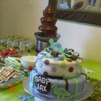 "Baby Shower Cakes! Another one of my ""Baby Jax"" cake! I loved the backdrop :)"
