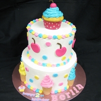 Ice Cream Party .The client wanted an Ice Cream Parlor birthday cake for her little girl.It is butter cream with fondant decorations