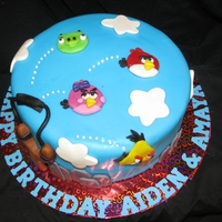 "Angry Birds Birthday Cake Fondant covered 10"" round cake"