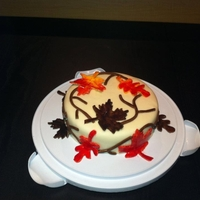 Fall Themed Cake! Fondant leaves painted with pedal dust.