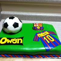 Birthday Soccer Cake made for my cousin that was celebrating his birthday and is a huge soccer fan. 1/2 sheet strawberry cake with cream cheese and marshmallow...