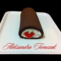 Cake Roll With Red Heart