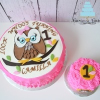 "Whoo's Turning 1 Made to match the party decor, 10"" white cake with chocolate mousse filling, vanilla almond buttercream and fondant accents."