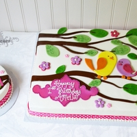 "Sweet Tweet Birthday This is the second time I had the pleasure of making/creating this cake. 1/2 Sheet and 6"" Smash cake both white with vanilla..."