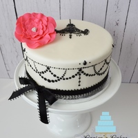 "Chandy Vintage Cake First time using a stencil. 9"" dummy. Free handed chandelier."