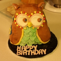Owl Cake   My First 3D Cake.I made this for a friends birthday who loves owls.