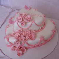 Valentina White and pink,heart shaped cake.