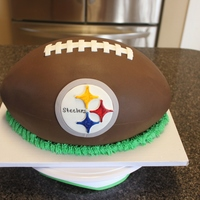 Steelers Football Carved out of 3-1/4 sheet cakes. The fondant had a leather texture, but unfortunately it didn't show up in the picture.