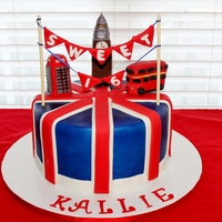 Union Jack Cake  This was for a Sweet 16 party. The young lady is really into the Union Jack flag and England. The phone booth and Big Ben are fondant and...