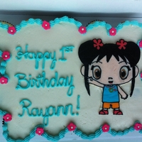 Kai Lan Cupcake Cake   First birthday cupcake cake with frozen buttercream transfer Kai Lan.