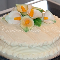 60Th Anniversary Cake Carrot cake covered with cheese buttercream and my first Cala Lily gumpastes flowers!