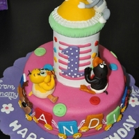 Looney Tunes Feeder Bottle Cake Looney tunes cake made for ANDI, on her first birthday. Completely handcrafted and edible. its a cake with a lid :)