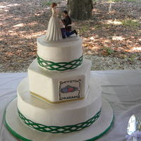 Celtic Wedding Cake  Outdoor wedding in Florida, 98 degrees outside. I kept this cake in a box within a box with dry ice until as close to cake cutting as could...