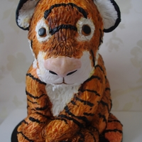 Sleepy Tiger Cake this is a replica of my daughters favorite teddy bear. she is having a teddy bear tea party.
