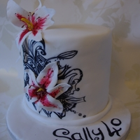 Lily Cake 40th birthday cake. handpainted with sugar lilies.