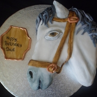 Horse Head Cake this is a horse head cake i did for someones dads birthday, it was sponge with a vanilla buttercream filling and hand painted details. i...
