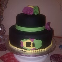 Black Sugar Paste With Green Pink And Yellow Decorations Inside Was Multicolored And Full Of Smarties Black sugar paste with green, pink and yellow decorations. Inside was multicolored and full of smarties.