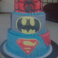 Superhero Spiderman, Batman, Superman Birthday cake